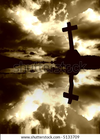 Christian cross and the clouds with water reflection - stock photo