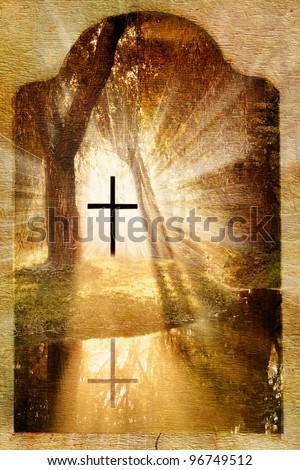 Christian cross in the forest,lake and light on grunge,old paper background to easter - stock photo
