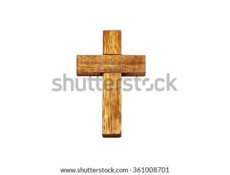 Christian cross isolated on white bottom - stock photo