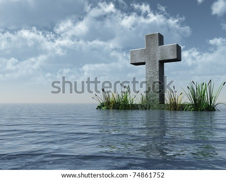 christian cross monument at the ocean - 3d illustration - stock photo