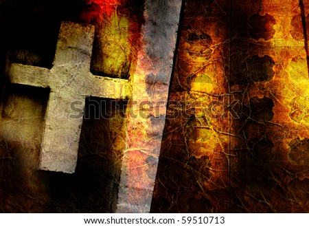 Christian cross on an abstract background - stock photo