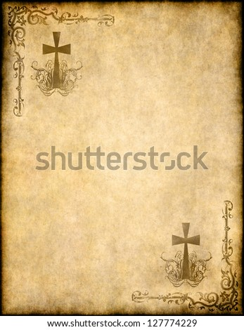 christian cross on old paper or parchment - stock photo