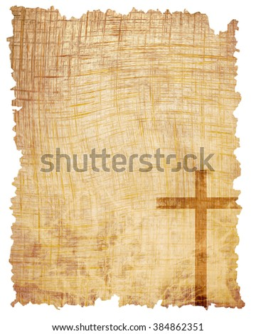Christian cross on paper background - stock photo