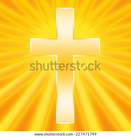 Christian cross shining in divine light - stock photo