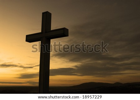 Christian cross silhouette - stock photo