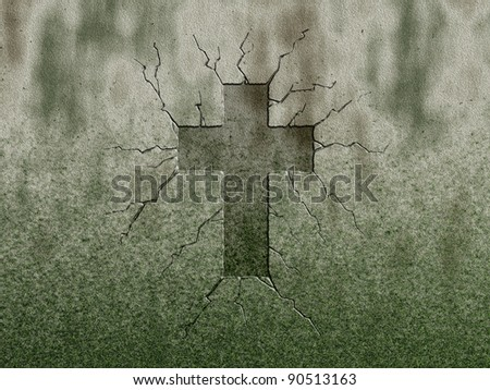 christian cross symbol on stone wound - stock photo