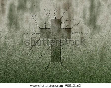 christian cross symbol on stone wound - stock photo