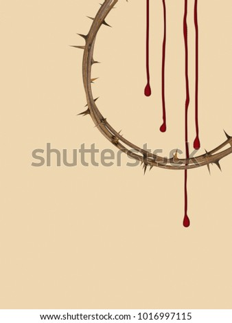 Christian Easter background, crown of thorns with blood effect.