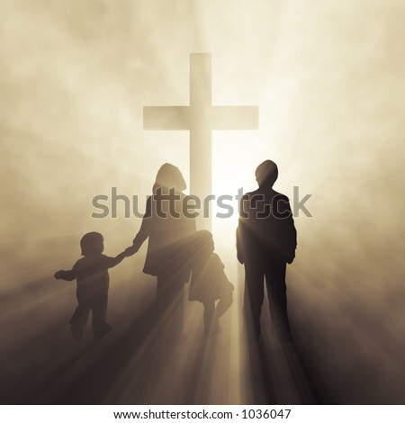 christian family before a cross - stock photo