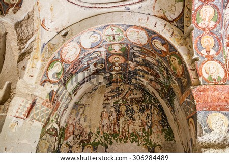 Christian fresco in ruined church Cappadocia, Turkey - stock photo