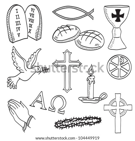Christian hand-drawn symbols illustration - cross, hands, fish, chalice, bread, dove, candle, crown of thorns - stock photo
