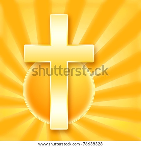 Christian holy сross in shining rays of the golden sun - stock photo