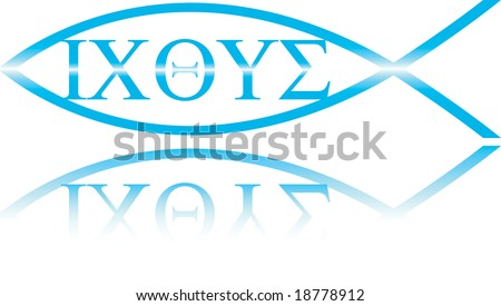 "Christian Ichthys symbol, the greek original of the ""Jesus Fish"", the translation of ""ichthys"" is ""Jesus Christ God's Son Saviour"". - stock photo"