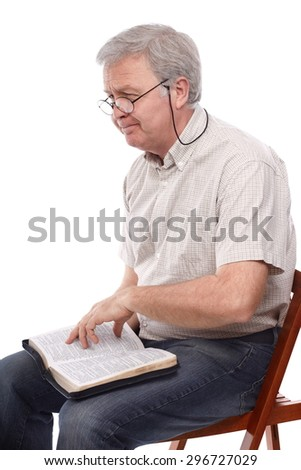 Christian man talking about Holy Bible - stock photo