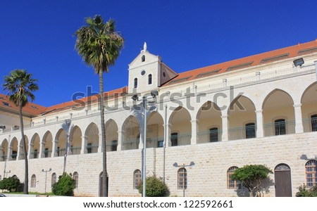 Christian School and Salesian Church , one of the largest and most beautiful churches in Nazareth, Israel - stock photo