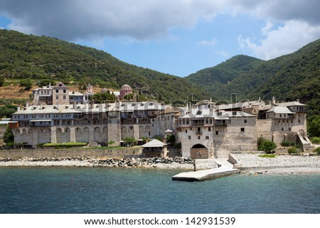 Christian shrine by the sea on Mount Athos - stock photo