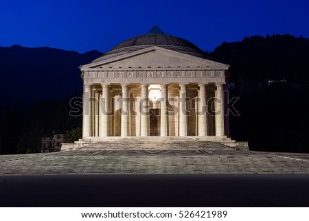 Christian temple by Antonio Canova. Roman and Greek religious architecture, building as pantheon and parthenon. Church situated in Possagno, Italy.