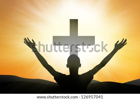 Christian worshiper standing at the cross on yellow background