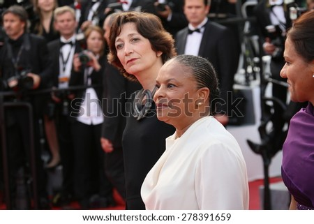 Christiane Taubira attends the opening ceremony and 'La Tete Haute' premiere during the 68th annual Cannes Film Festival on May 13, 2015 in Cannes, France. - stock photo