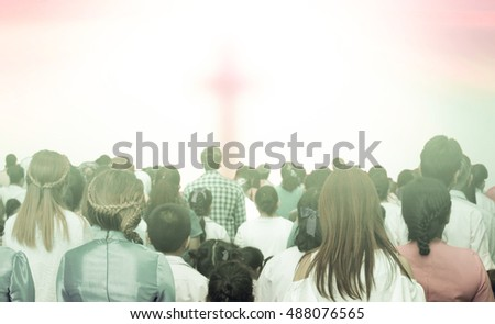 Christians prayed together in the church ,Illustration of a Christian Family Praying Together,Large group of people seen from above gathered together around the shape of a cross, on white background