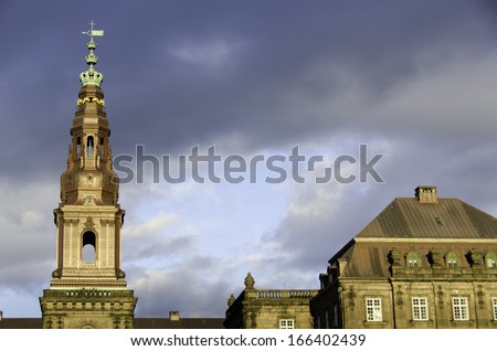 Christiansborg Palace in the center of Copenhagen,  Denmark. Seat of the Danish government - stock photo