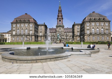 Christiansborg Palace - located in the center of Copenhagen, on the islet of Slotsholmen. Denmark - stock photo