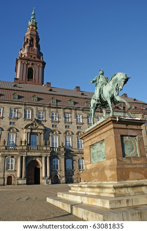 Christiansborg Palace, on the islet of  Slotsholmen in the center of Copenhagen which is the seat of the Folketing (the Danish parliament)