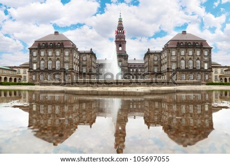 Christiansborg Palace with fountain at summer day in Copenhagen, Denmark. - stock photo