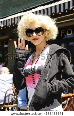 Christina Aguilera, leaves the Gemma Restaurant out and about for CELEBRITY CANDIDS - FRIDAY, , New York, NY May 7, 2010