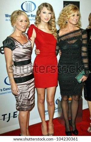 "Christina Applegate, Taylor Swift, and Faith Hill  at the EIF's Women's Cancer Research Fund's ""An Unforgettable Evening"" Benefit, Beverly Wilshire Four Seasons Hotel, Beverly Hills, CA. 01-27-10 - stock photo"