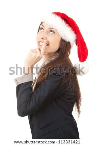 christman businesswoman thinking - stock photo