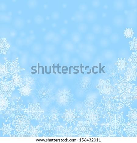 christmas abstract background.white snowflakes on a blue background.christmas background.raster - stock photo