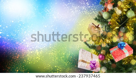 Christmas abstract background with decorated eve tree  - stock photo