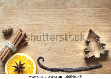 Christmas abstract food background on cutting board