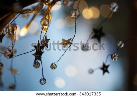Christmas abstract with gold and blue - stock photo