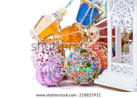 Christmas accessories and lantern - stock photo