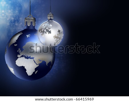 Christmas all over earth - Earth and moon christmas baubles. - stock photo