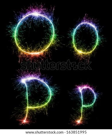 Christmas alphabet created a sparkler,letter o,letter p - stock photo