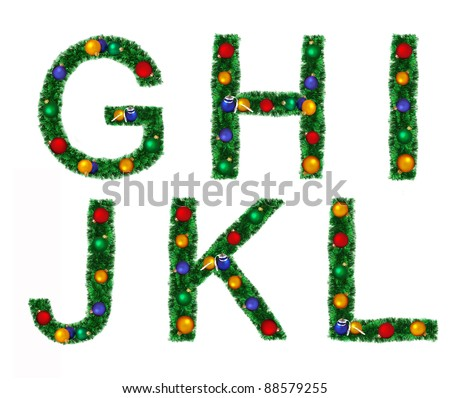 Christmas alphabet isolated on a white background. Set of letters