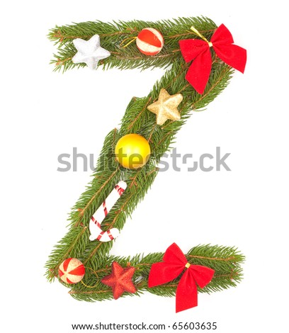 Christmas Alphabet. Part of full set isolated on a white background