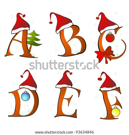 christmas alphabet set letters winter A -F - stock photo