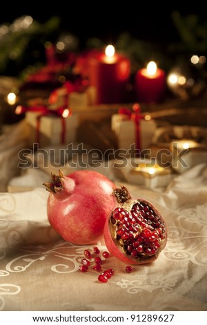 christmas an new year's eve table - stock photo