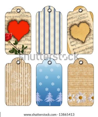Christmas and flowers Gift tags. Isolated on a white background