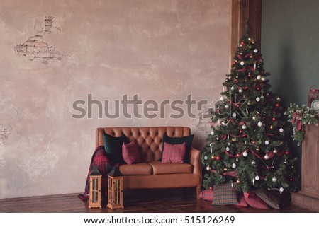 Christmas and New Year background. New Year Tree decorated