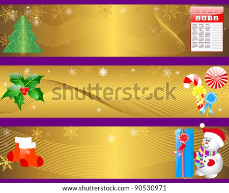 Christmas and new year banners with icon calendar; gifts and snowman.  Raster version.