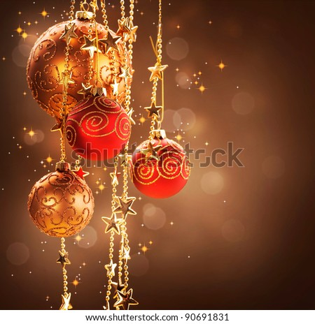 Christmas and New Year border Design.Vintage Style - stock photo