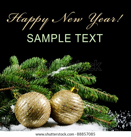 Christmas and New Year Border  on  black - stock photo