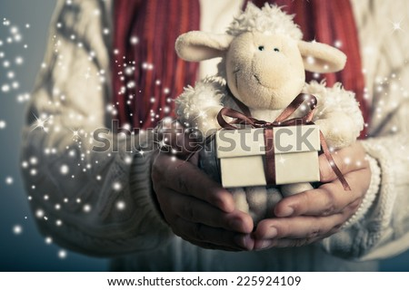 Christmas and New Year concept. Hands holdimg small  magic gift box and soft toy.  - stock photo