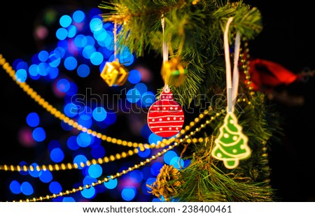 Christmas and New Year Decoration. Abstract Blurred Bokeh Holiday Background. Blinking Garland. Christmas Tree Lights Twinkling. Glowing Background - stock photo