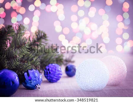 Christmas and New Year Decoration and background bokeh of twinkling party lights